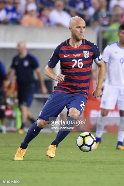 United States midfielder Michael Bradley dribbles the ball during a CONCACAF Gold Cup Quarterfinal match between the United States v El Salvador at...