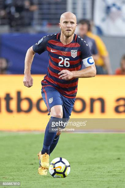 United States midfielder Michael Bradley dribbles the ball during the CONCACAF Gold Cup Final match between the United States v Jamaica at Levi's...