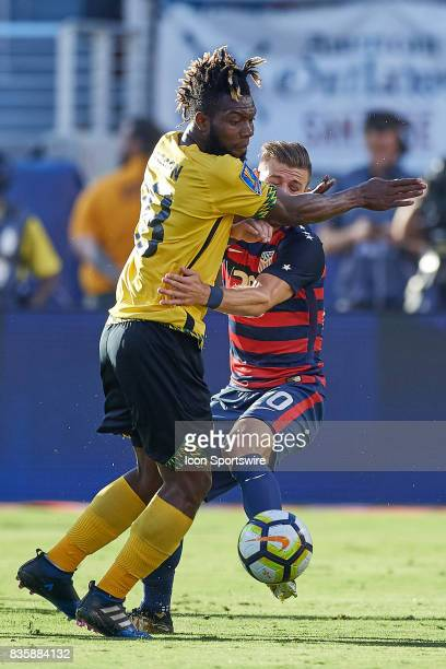 United States midfielder Paul Arriola battles with Jamaica goalkeeper Damion Hyatt during the CONCACAF Gold Cup Final match between the United States...