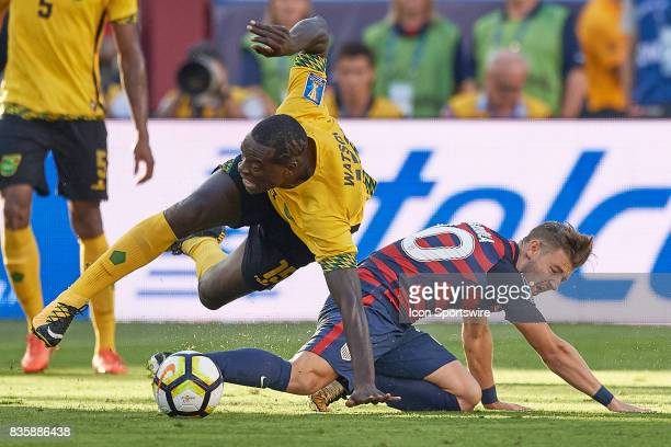 United States midfielder Paul Arriola battles with Jamaica midfielder JeVaughn Watson for the ball during the CONCACAF Gold Cup Final match between...