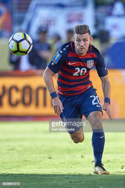 United States midfielder Paul Arriola chases the ball during the CONCACAF Gold Cup Final match between the United States v Jamaica at Levi's Stadium...