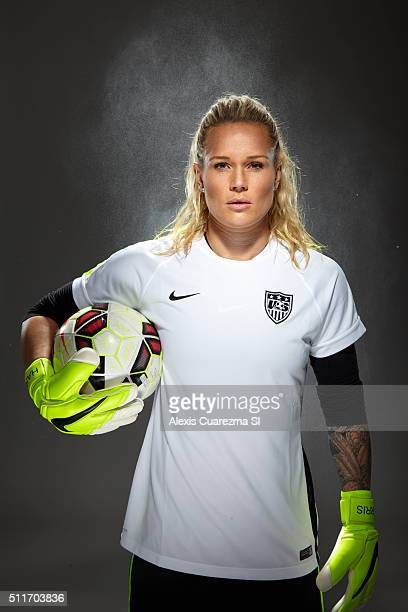 United States National Soccer team member Ashlyn Harris is photographed for Sports Illustrated on May 2 2015 in Newport Beach California CREDIT MUST...