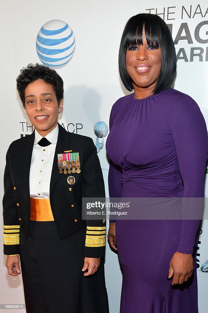 United States Navy Vice Admiral Michelle Janine Howard (L) and NAACP Chairman Roslyn M. Brock attend the 44th NAACP Image Awards at The Shrine Auditorium on February 1, 2013 in Los Angeles, California.