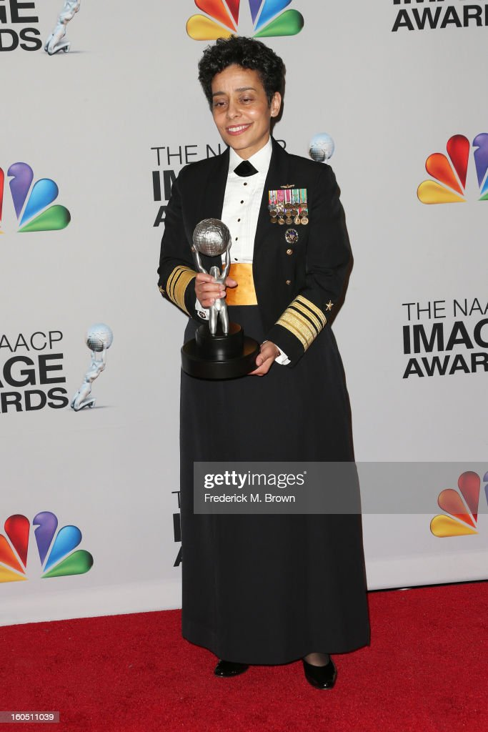 United States Navy Vice Admiral Michelle Janine Howard, recipient of the Chairman's Award, poses in the press room during the 44th NAACP Image Awards at The Shrine Auditorium on February 1, 2013 in Los Angeles, California.
