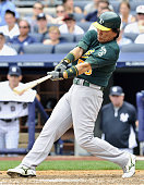 NEW YORK United States Oakland Athletics designated hitter Hideki Matsui blasts a solo homer his 501st career home run in the seventh inning of a...