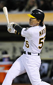 OAKLAND United States Oakland Athletics designated hitter Hideki Matsui hits a single in the seventh inning of a game against the Chicago White Sox...