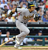 DETROIT United States Oakland Athletics designated hitter Hideki Matsui knocks in a tworuns single in the fifth inning of a game against the Detroit...