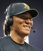 DETROIT United States Oakland Athletics designated hitter Hideki Matsui smiles in an interview after hitting the 500th home run of his professional...