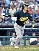 DETROIT United States Oakland Athletics designated hitter Hideki Matsui homers during the sixth inning of a game against the Detroit Tigers at...