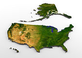 3D rendering of extruded high-resolution physical map (with relief) of the USA, including Alaska and Hawaii, isolated on white background. Modeled and rendered with Houdini 16.5 Satellite image from N