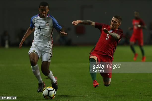 United States of America midfielder Tyler Adams and Portugal defender Antunes during the match between Portugal and United States of America...