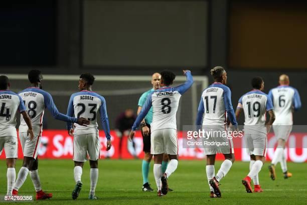 United States of America midfielder Weston McKennie celebrates scoring USA goal during the match between Portugal and United States of America...