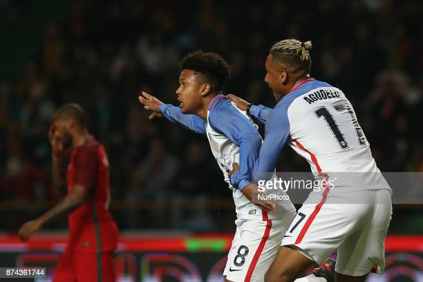 United States of America midfielder Weston McKennie celebrating with United States of America forward Juan Agudelo after scoring a goal during the...