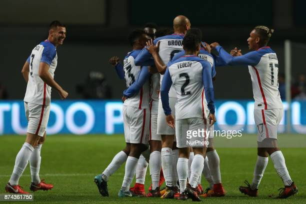 United States of America midfielder Weston McKennie celebrating with is team mate after scoring a goal during the match between Portugal and United...