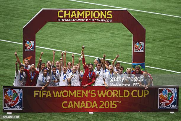 United States of America player celebrate after winning the FIFA Women's World Cup 2015 final match between USA and Japan at BC Place Stadium on July...