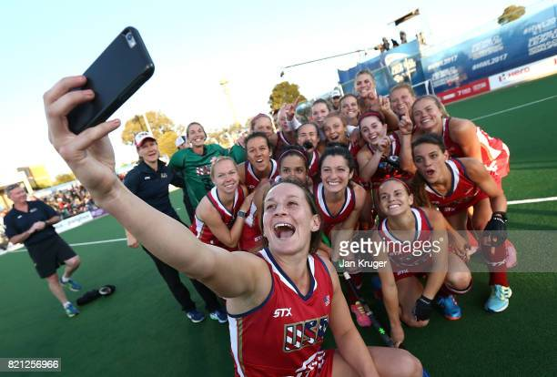 United States of America players pose for a selfie after victory during day 9 of the FIH Hockey World League Women's Semi Finals final match between...