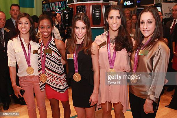 United States Olympic gold medalist gymnasts Kyla Ross Gabby Douglas McKayla Maroney Aly Raisman and Jordan Wieber ring the closing bell at the New...