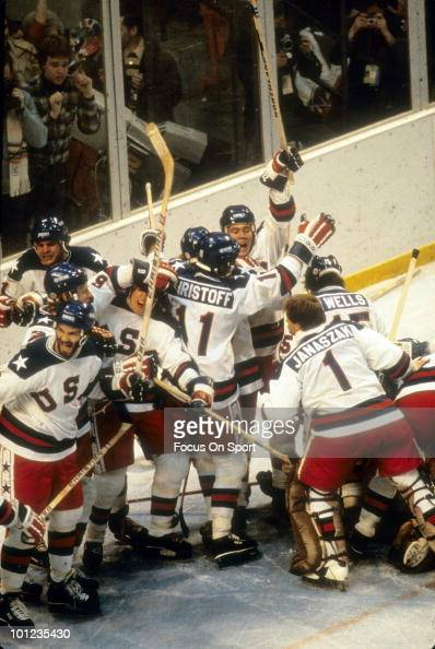 United States Olympic Hockey players in jubilation after beating the Soviet Union hockey team in the semifinals hockey game February 22 1980 during...