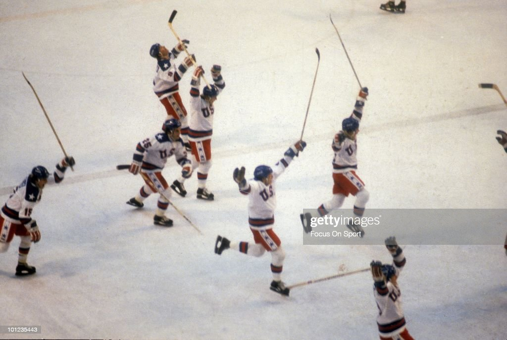 United States Olympic Hockey players jump with jubilation after beating the Soviet Union hockey team in the semifinals hockey game February 22 1980...