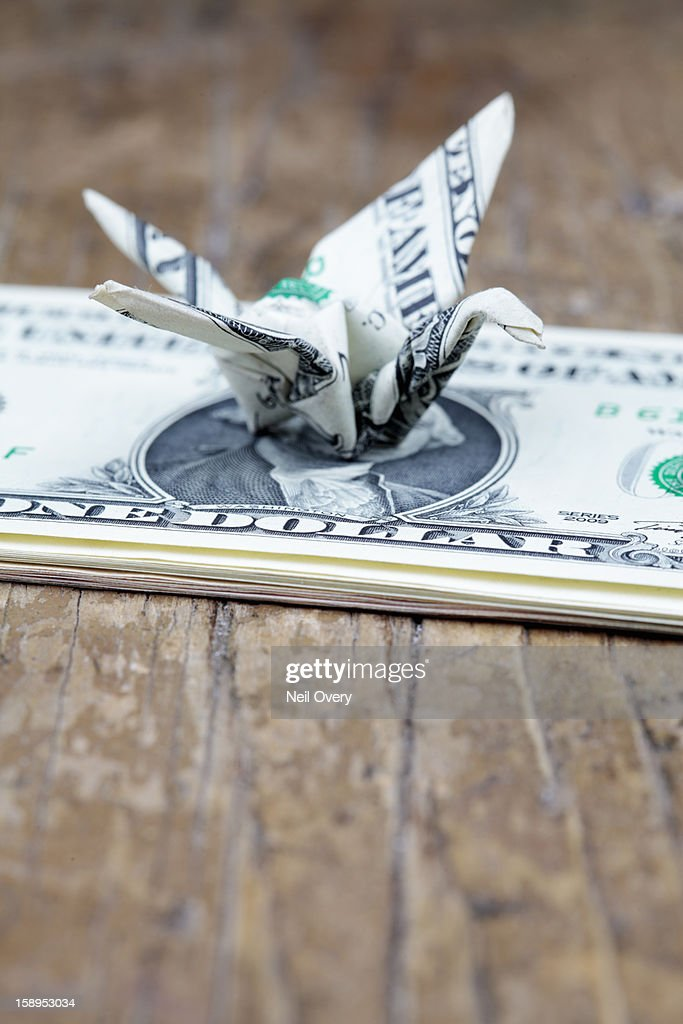 United States one dollar bill origami crane