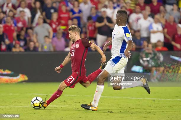 United States Paul Arriola shoots the ball on goal during the World Cup Qualifier soccer match between the USA Mens National Team and Panama National...