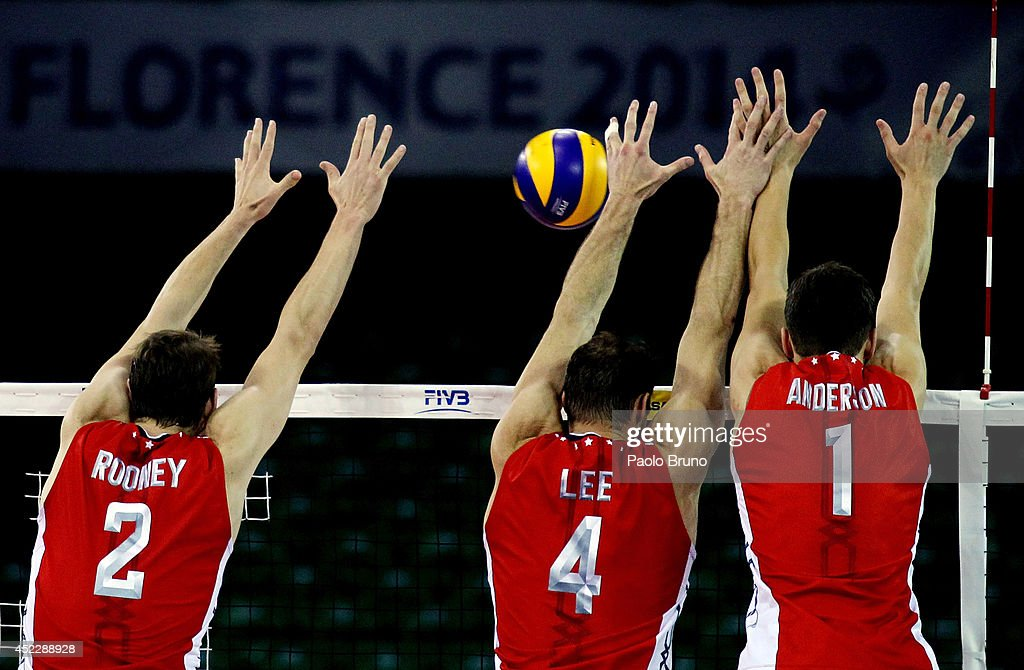 United States players block the ball during the FIVB World League Final Six match between United States and Australia at Mandela Forum on July 17, 2014 in Florence, Italy.