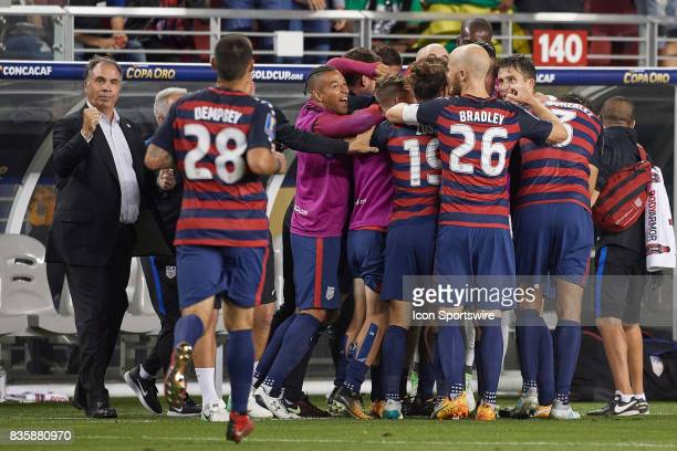 United States players celebrate a goal scored by the United States forward Jordan Morris during the CONCACAF Gold Cup Final match between the United...