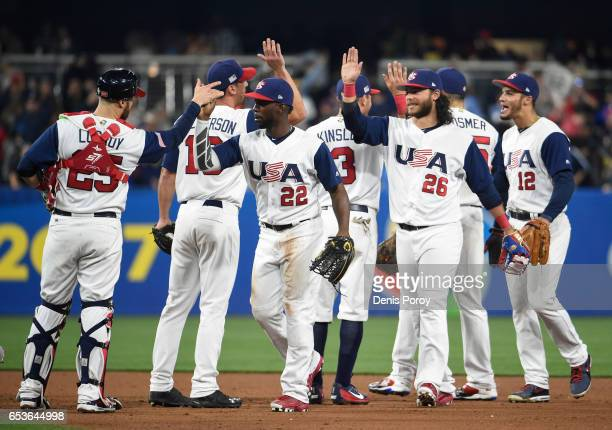 United States players celebrate after beating Venezuela 42 in the World Baseball Classic Pool F Game Two at PETCO Park on March 15 2017 in San Diego...