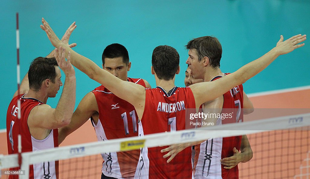 United States players celebrate during the FIVB World League Final Six match for the first place between United States and Brazil at Mandela Forum on July 20, 2014 in Florence, Italy.