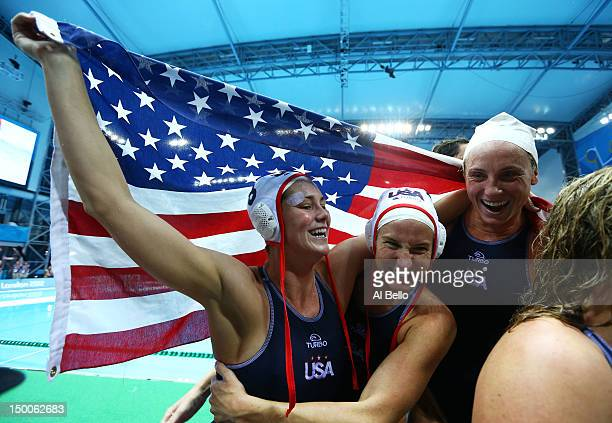 United States players celebrate winning the Women's Water Polo Gold Medal match between the United States and Spain on Day 13 of the London 2012...