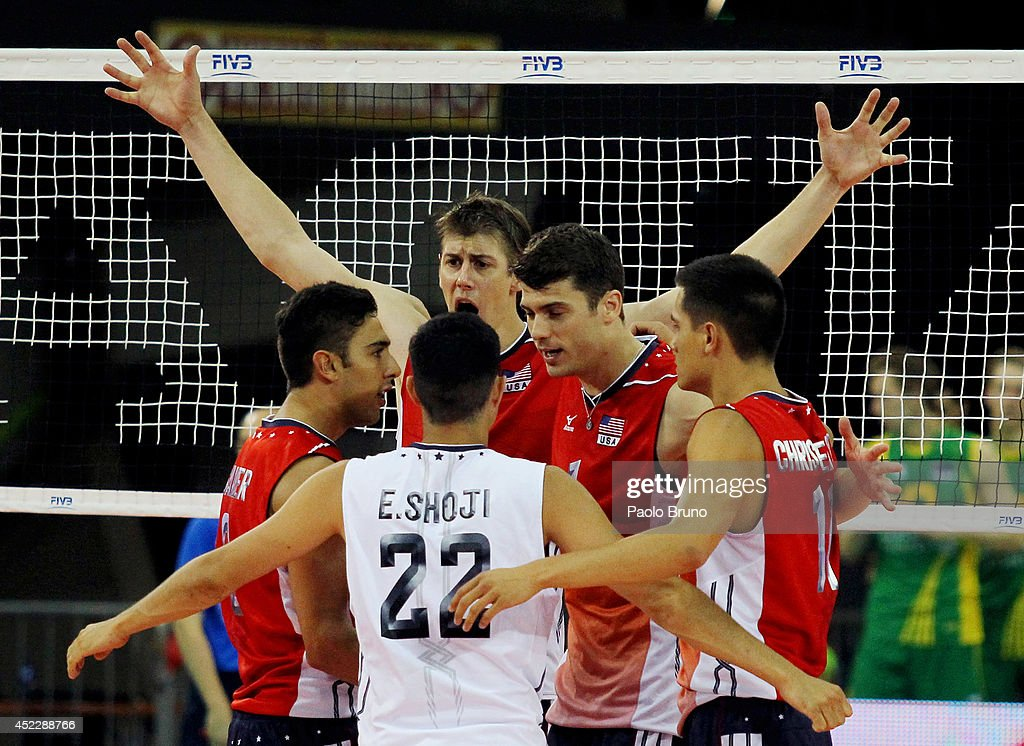 United States players celebrates during the FIVB World League Final Six match between United States and Australia at Mandela Forum on July 17, 2014 in Florence, Italy.