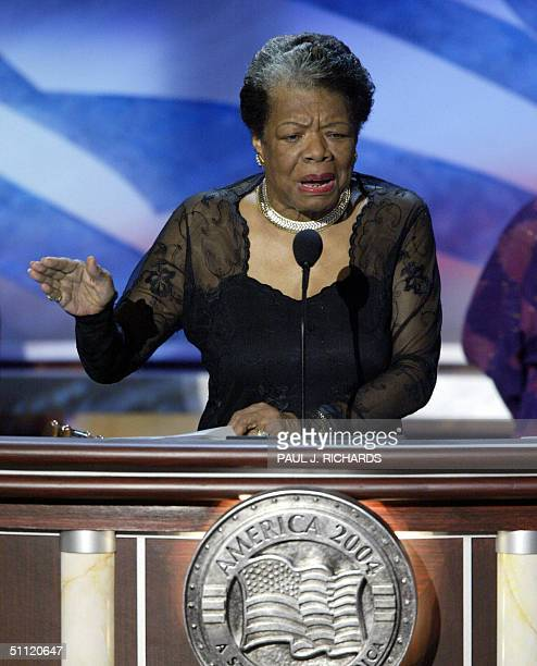 Poet and activist Maya Angelou addresses the Democratic National Convention 27 July in Boston Massachusetts Democratic presidential candidate John...