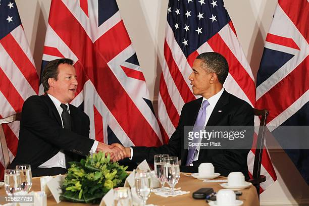 United States President Barack Obama and British Prime Minister David Cameron hold meetings as part of the General Assembly on September 21 2011 in...
