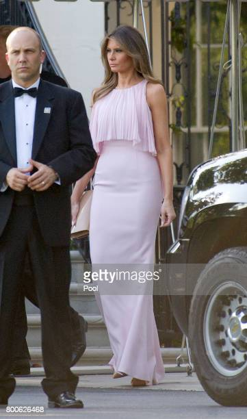 United States President Donald J Trump and first lady Melania Trump depart the White House in Washington DC on June 24 2017 The Trumps left to attend...
