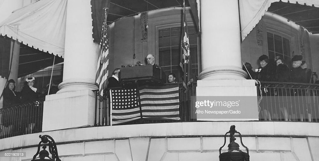 United States President Franklin Roosevelt delivering the inaugural address following his election to a fourth term Washington DC 1944