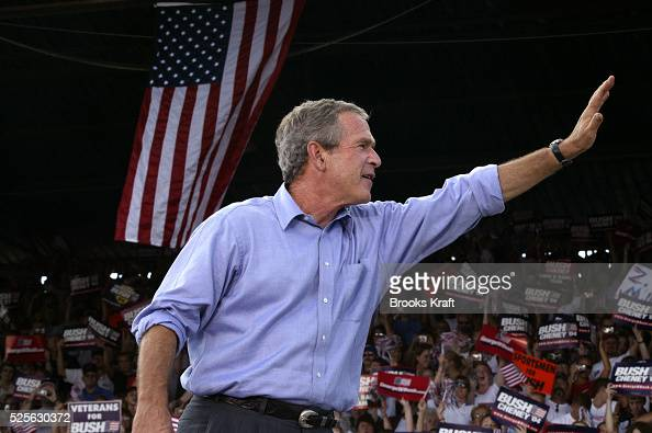United States President George W Bush attends a campaign rally in Chillicothe