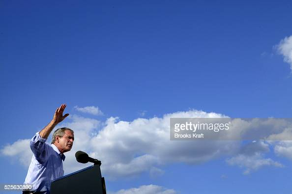 United States President George W Bush speaks at a campaign rally in Chillicothe