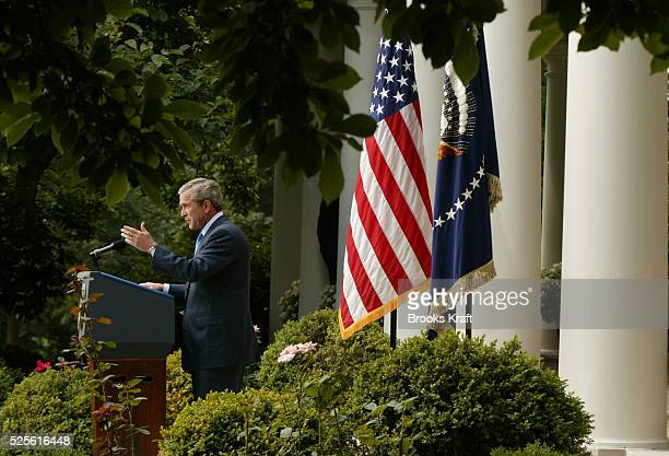United States President George W Bush speaks to reporters accepting personal responsibility for a controversial portion of last winter's State of the...
