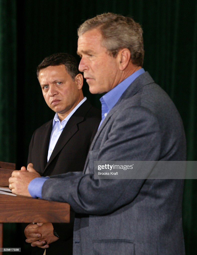 United States President George W Bush speaks to reporters after hosting a meeting with and Jordan's King Abdullah II at the presidential retreat Camp...