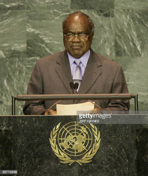President Hifikepunye Pohamba of Namibia addresses the 60th session of the General Assembly 17 September 2005 at the United Nations AFP PHOTO/JEFF...