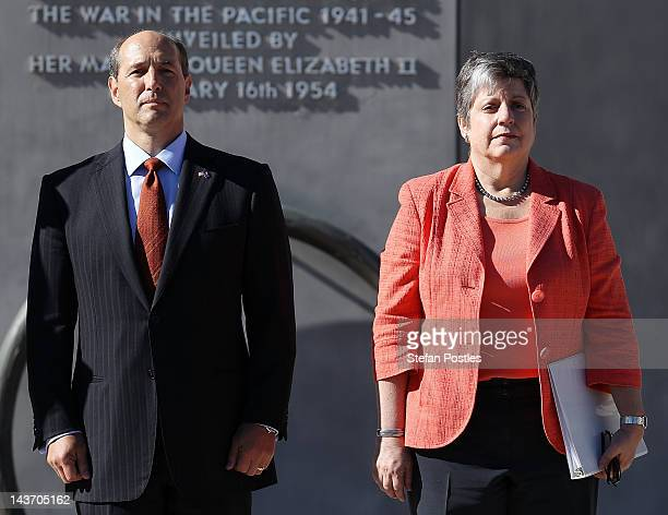 United States Secretary for Homeland Security Janet Napolitano and United States Ambassador to Australia Jeffery Bleich are formally greeted upon...
