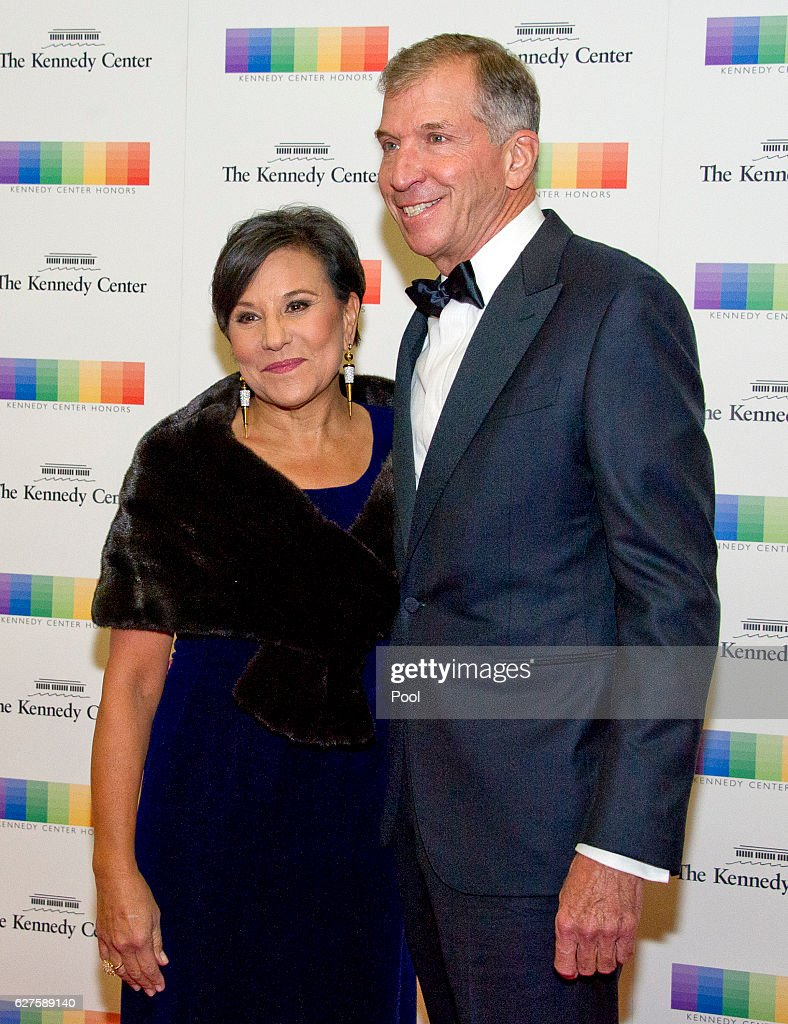 United States Secretary of Commerce Penny Pritzker and her husband, Dr. Bryan Traubert, arrive for the formal Artist's Dinner honoring the recipients of the 39th Annual Kennedy Center Honors hosted by United States Secretary of State John F. Kerry at the U.S. Department of State on December 3, 2016 in Washington, D.C. The 2016 honorees are: Argentine pianist Martha Argerich; rock band the Eagles; screen and stage actor Al Pacino; gospel and blues singer Mavis Staples; and musician James Taylor.
