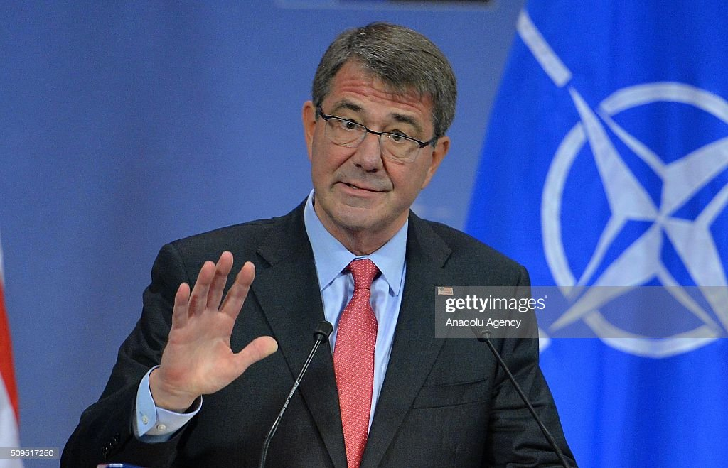 United States Secretary of Defense Ash Carter gives a speech prior to NATO Defence Ministers Meeting which is being held in Brussels, Belgium on February 11, 2016.
