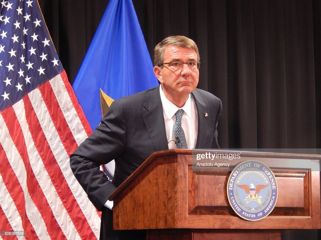 United States Secretary of Defense Ash Carter holds a press conference after a meeting 'fighting against Daesh' at United States European Command in Stuttgart, Germany on May 4, 2016.