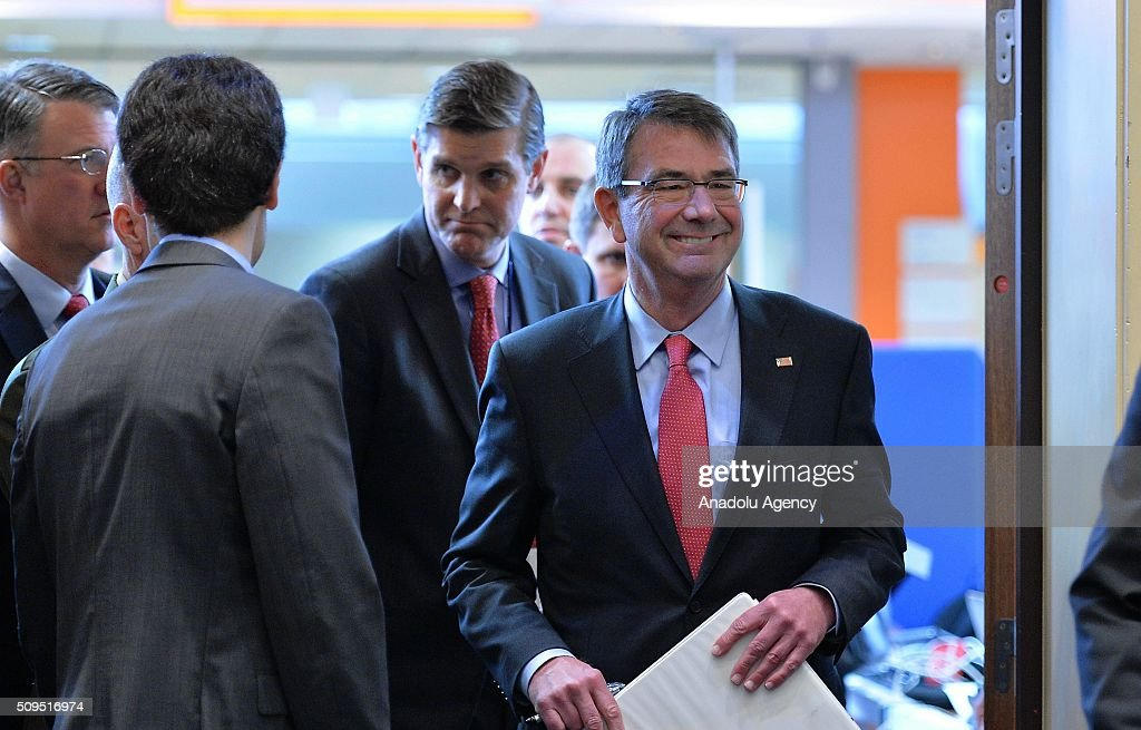 United States Secretary of Defense Ash Carter walks to give a speech prior to NATO Defence Ministers Meeting which is being held in Brussels, Belgium on February 11, 2016.