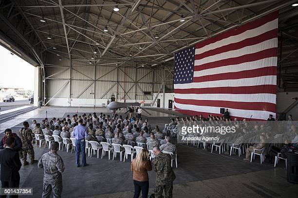 United States Secretary of Defense Ashton Carter delivers a speech during his visit to Incirlik Airbase in Adana southern Turkey on December 15 2015