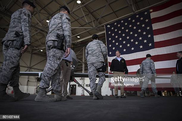 United States Secretary of Defense Ashton Carter shake hands with military personnel after delivering a speech during his visit to Incirlik Airbase...