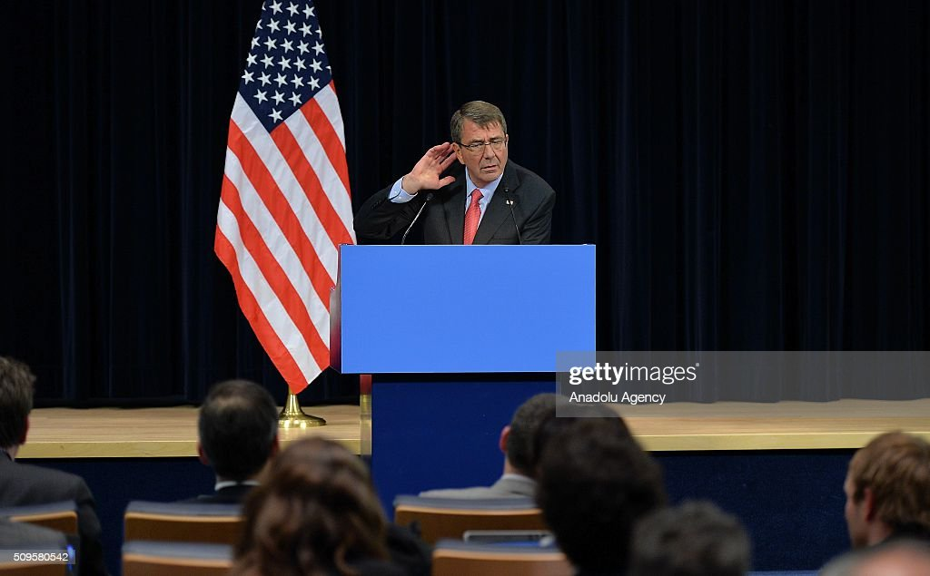 United States Secretary of Defense Ashton Carter speaks during a media conference at NATO headquarters in Brussels, Belgium on February 11, 2016.
