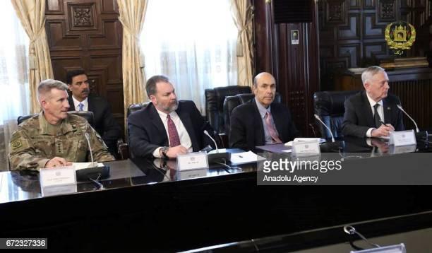 United States Secretary of Defense James Mattis and General John Nicholson meet Afghan president Mohammad Ashraf Ghani in Kabul Afghanistan on April...