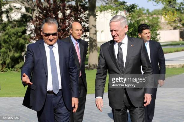 United States Secretary of Defense James Mattis is seen ahead of his meeting with Afghan president Mohammad Ashraf Ghani in Kabul Afghanistan on...